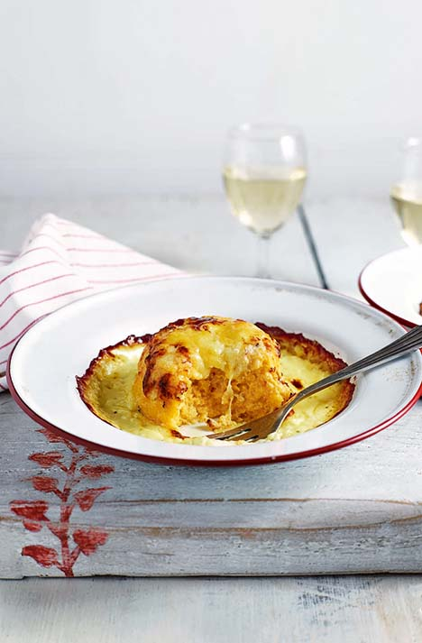Twice-baked soufflés with Gruyère and cheddar