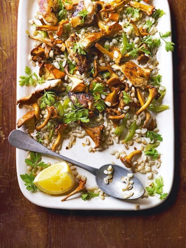 Warm chicken, barley and mushroom salad