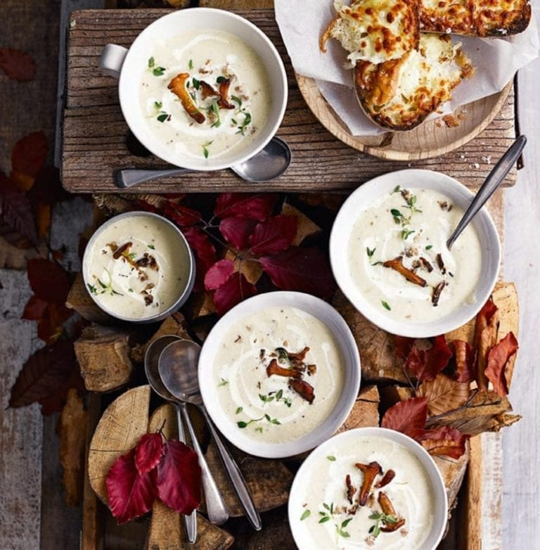 Celeriac and apple soup with girolle mushrooms and cheesy toasts