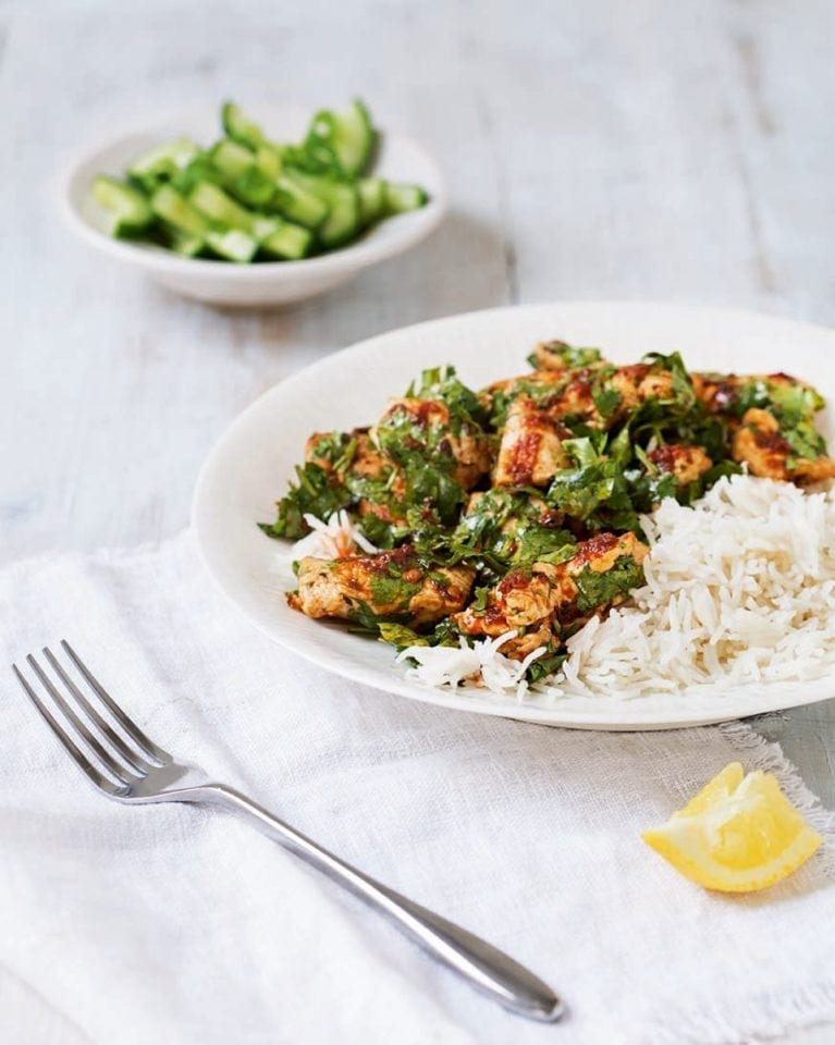 Chilli chicken with cucumber salad