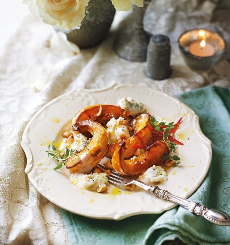 Roast pumpkin with toasted hazelnuts, blue cheese and thyme