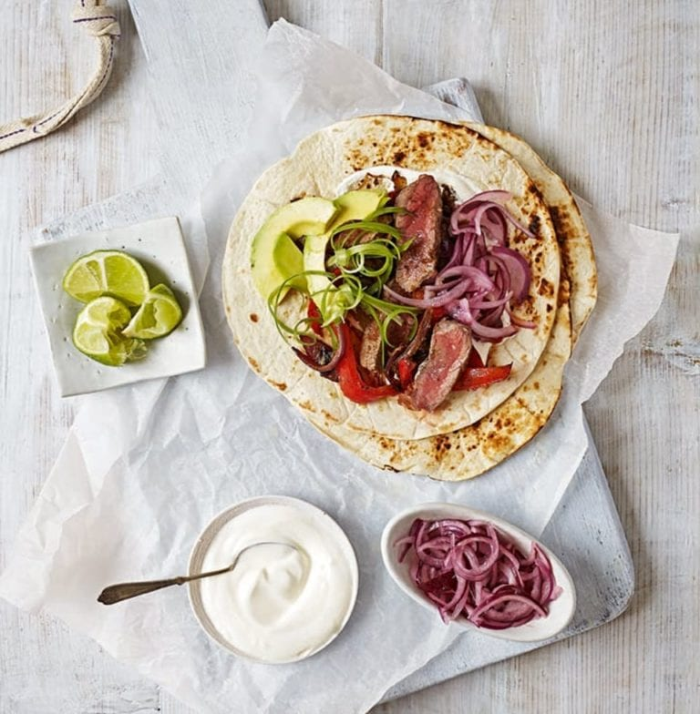 Quick steak fajitas with pickled red onions