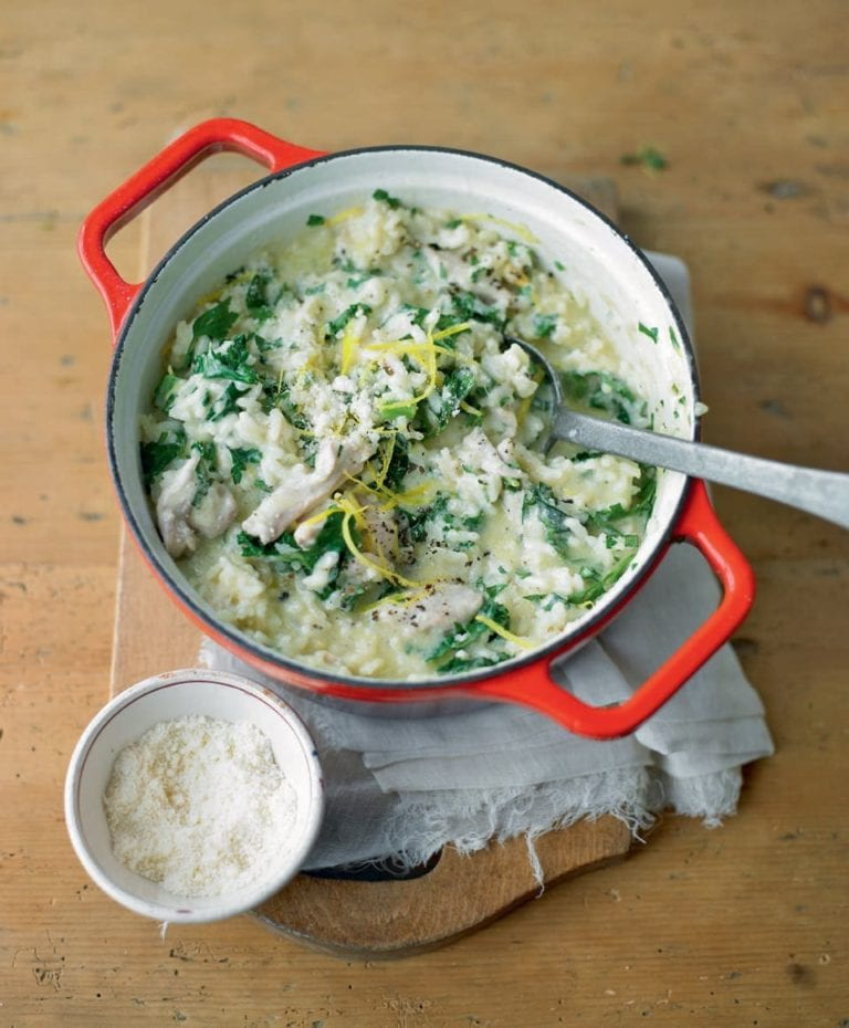 Baked chicken and herb risotto