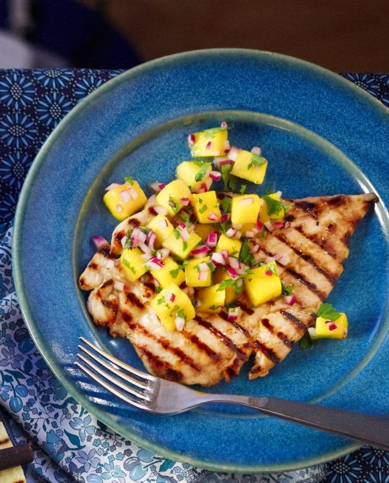 Griddled chicken with mango and red onion salsa