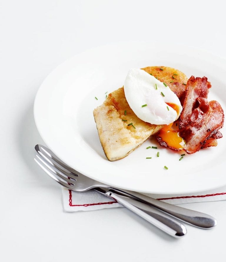 Cheat's bubble and squeak cakes with smoked haddock and eggs