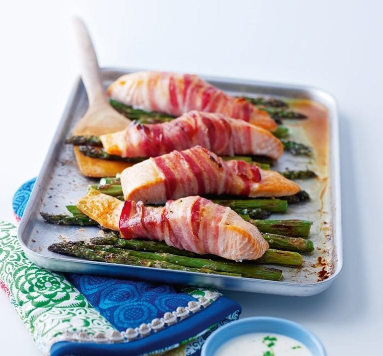 Pancetta-wrapped salmon with griddled asparagus