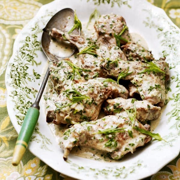 Braised rabbit with tarragon, mustard and cream