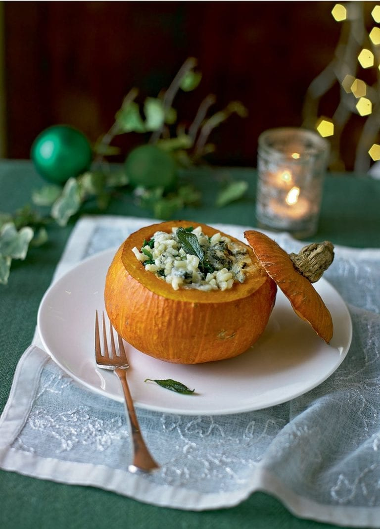 Roast onion squash stuffed with blue cheese risotto