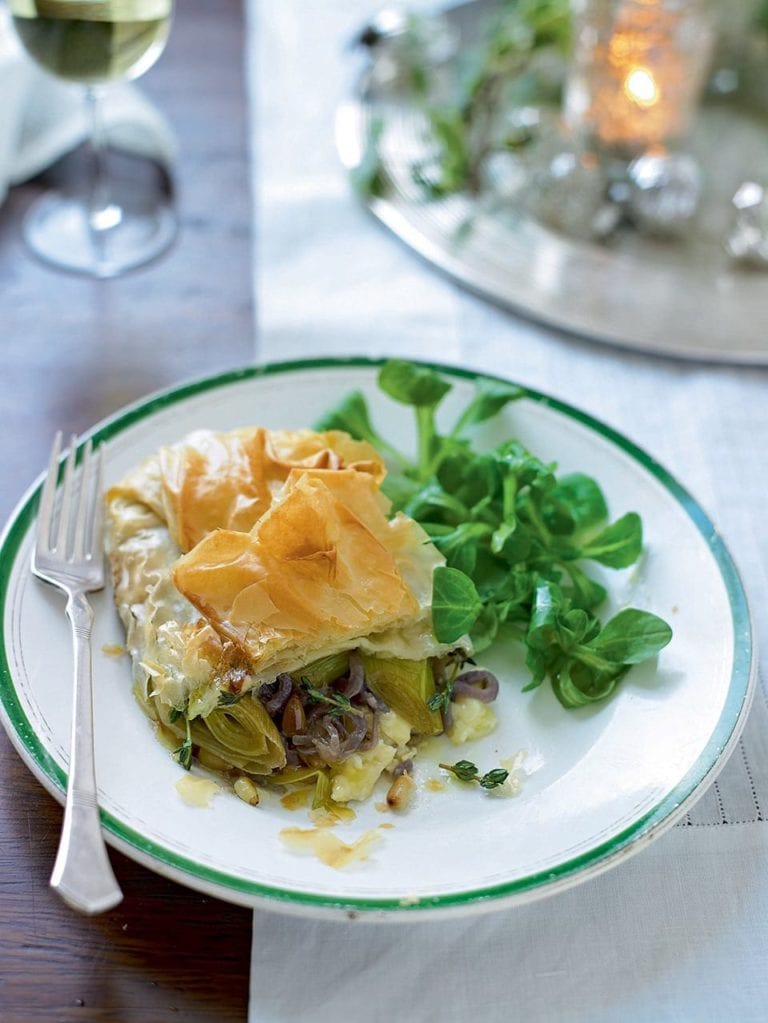 Caramelised leek, onion and Camembert parcels