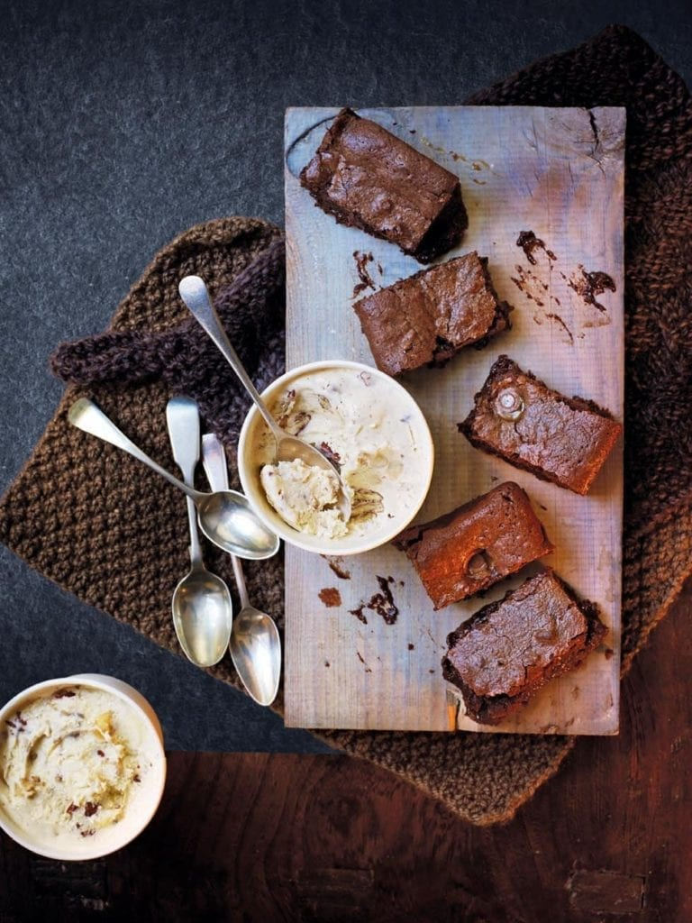 Salted Rolo brownies with banana-pecan ice cream