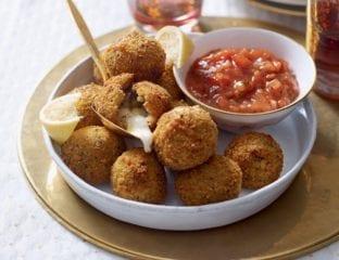 Mozzarella stuffed risotto balls