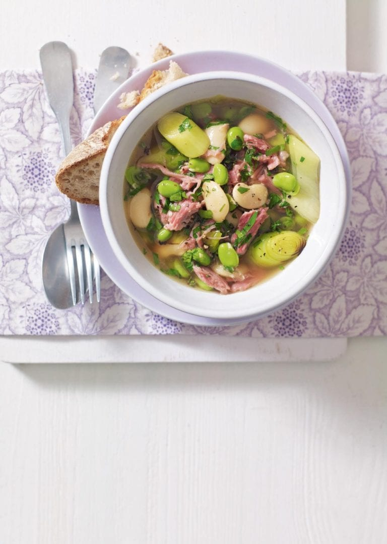 Ham hock, leek and bean casserole