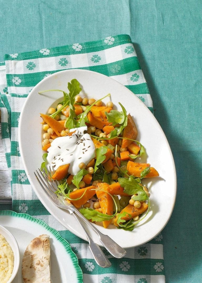 Roast squash, chickpea, rocket and cumin salad