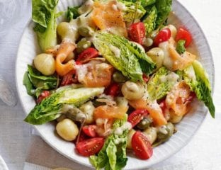 New potato salad with smoked salmon and caperberries