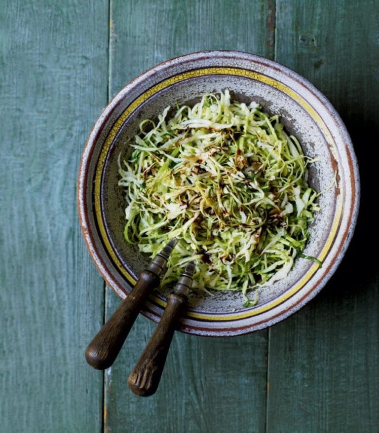 Green cabbage and Parmesan coleslaw