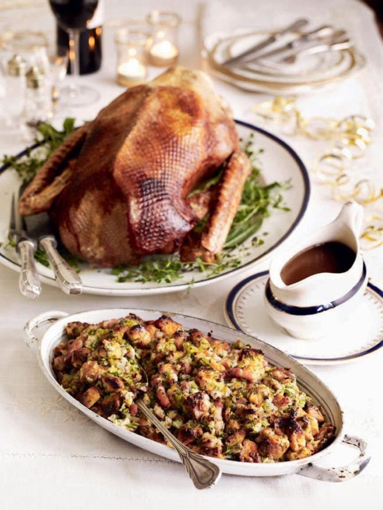 Festive roast goose with panettone stuffing