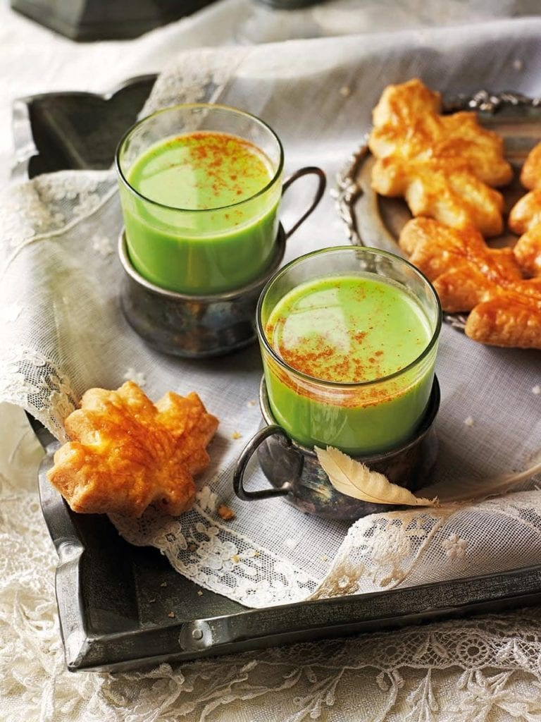 Spiced pea soup with cheddar sablés