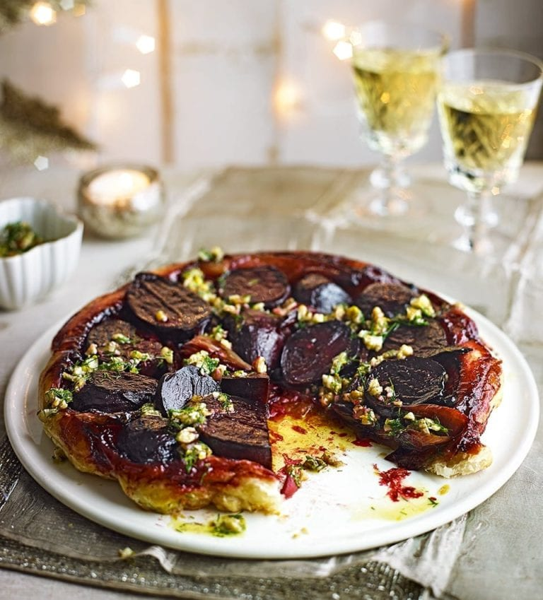 Beetroot and shallot tarte tatin with walnut, orange and dill dressing