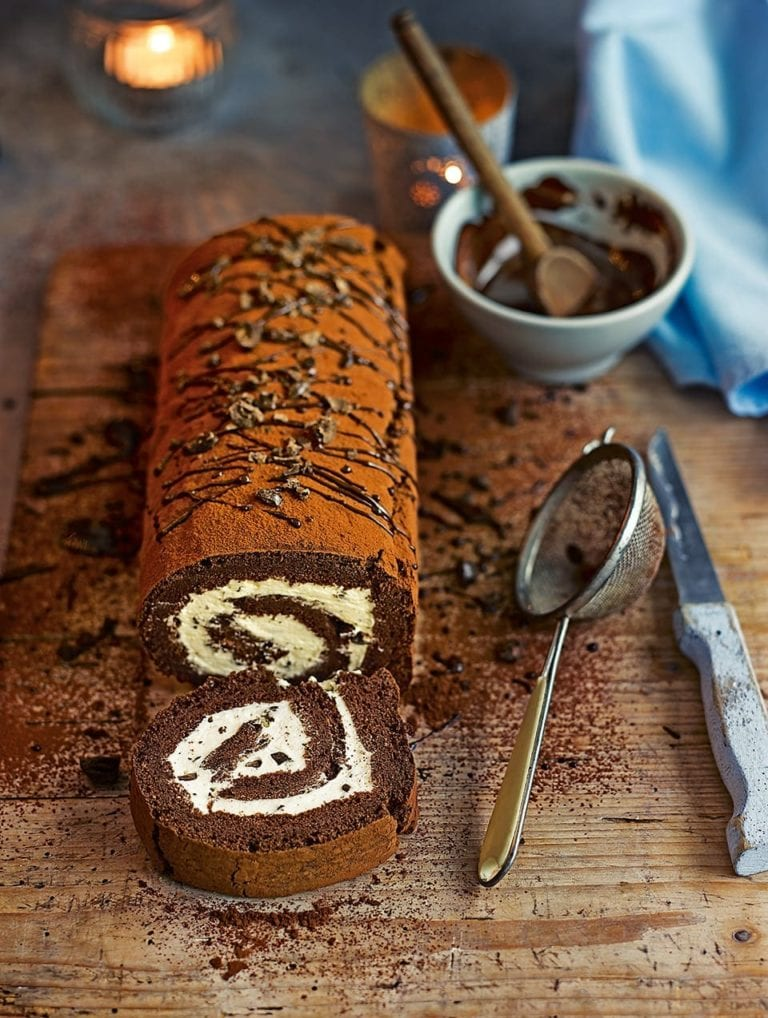 Chocolate and coffee swiss roll