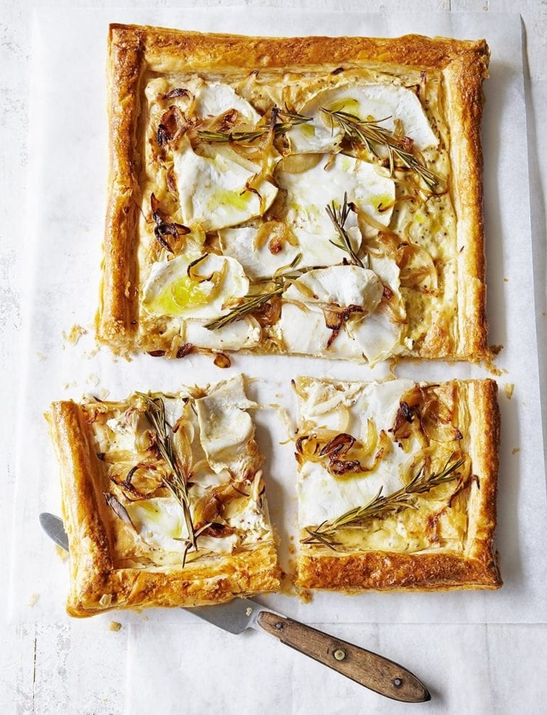 Celeriac, onion and mustard puff pastry tart