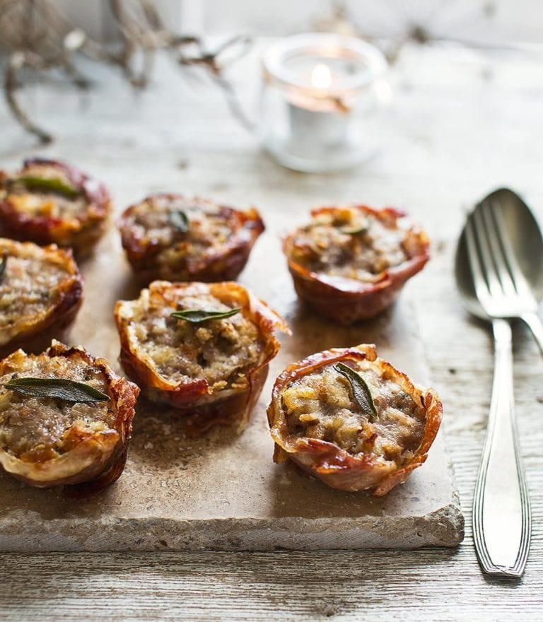 Crispy prosciutto cups with sausage and sage stuffing