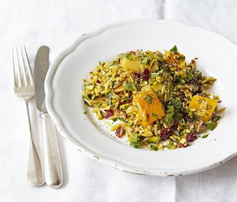 Warm root veg orzo pilaf