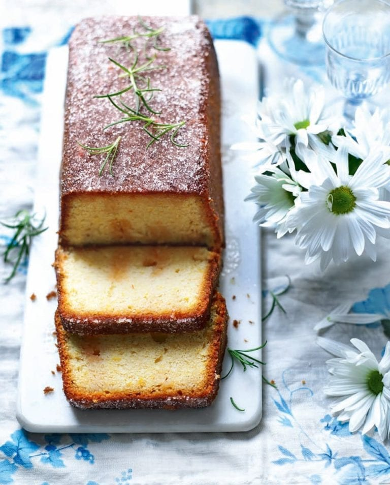 Clotted cream cake with citrus and rosemary drizzle