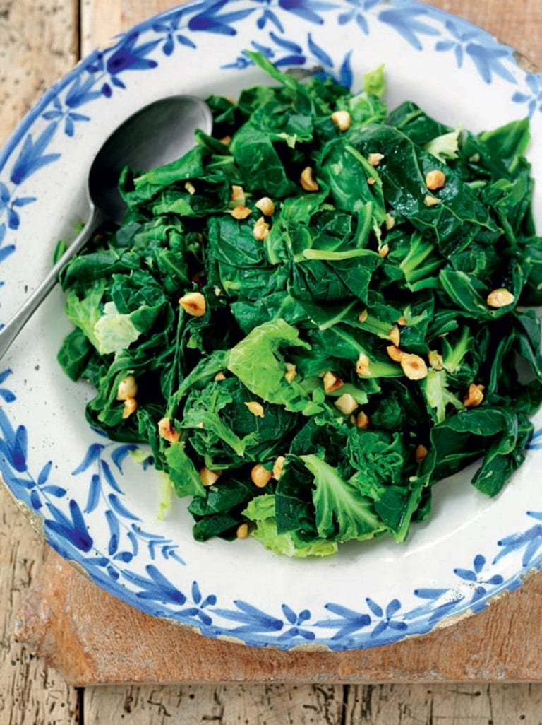 Sprout tops with browned butter and hazelnuts