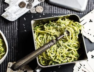 Spaghetti with kale and brussels sprout pesto