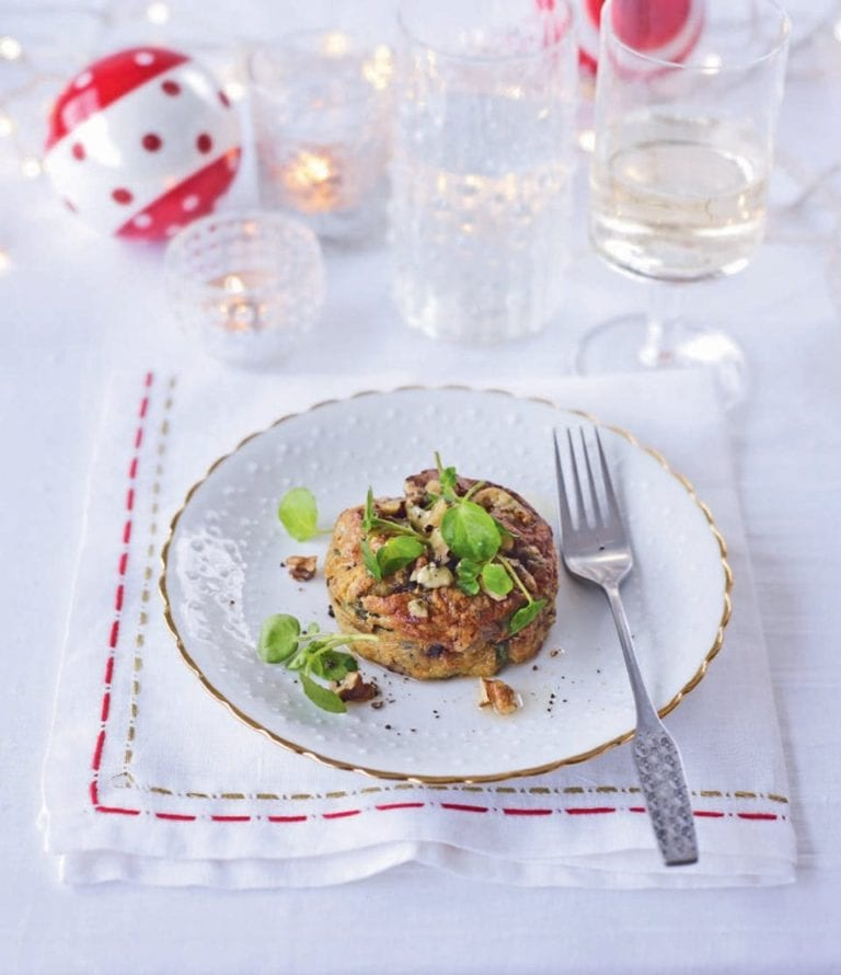 Twice-baked stilton, watercress and walnut soufflés