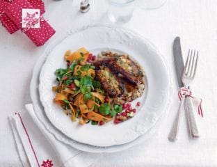 Carrot keftedes with pomegranate skordalia and carrot salad