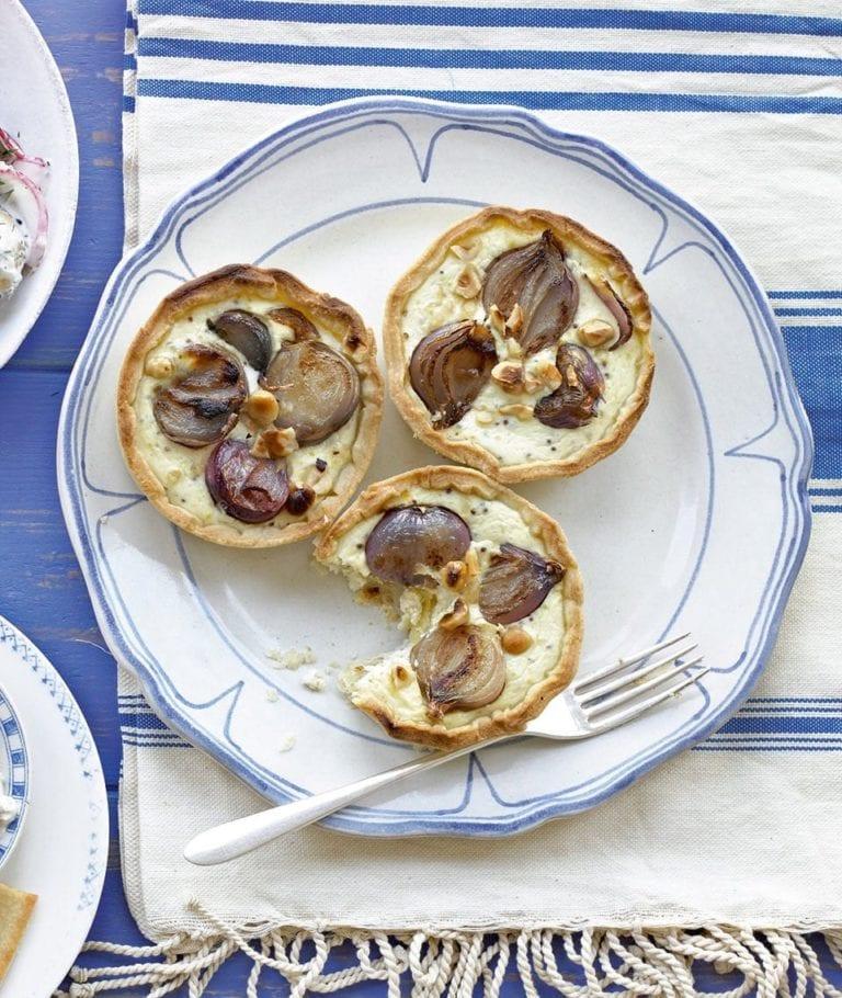 Hazelnut, shallot and mustard tarts