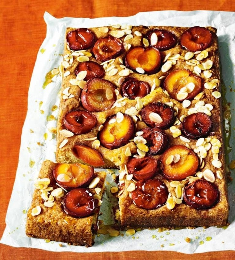 Sticky plum and custard cake