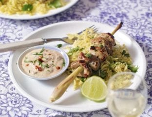 Lemongrass chicken skewers with lime leaf rice