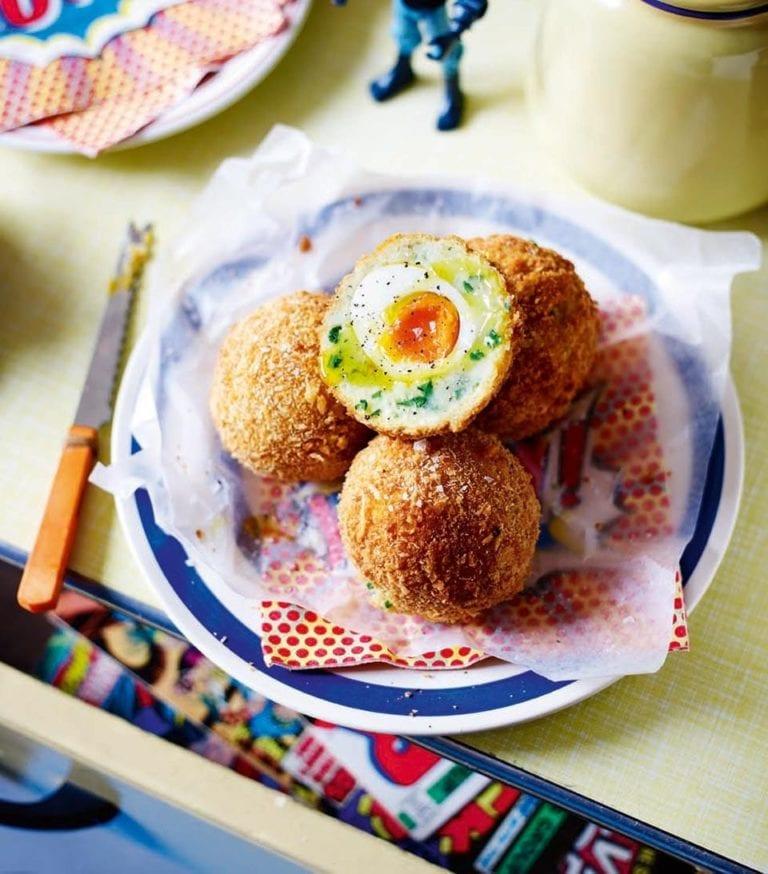 Truffle and parmesan potato scotch eggs