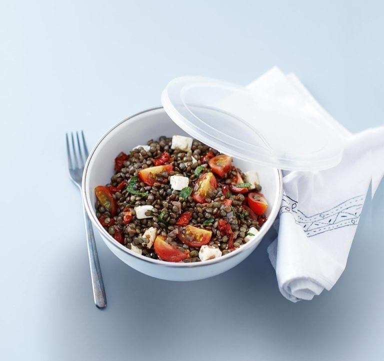 Puy lentil salad with feta, mint and tomatoes