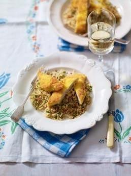 Chicken schnitzel with spiced rice