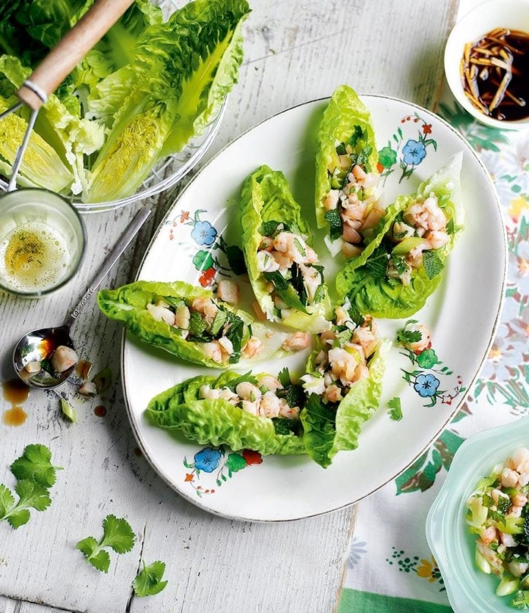 Prawn and herb lettuce cups with ginger dressing