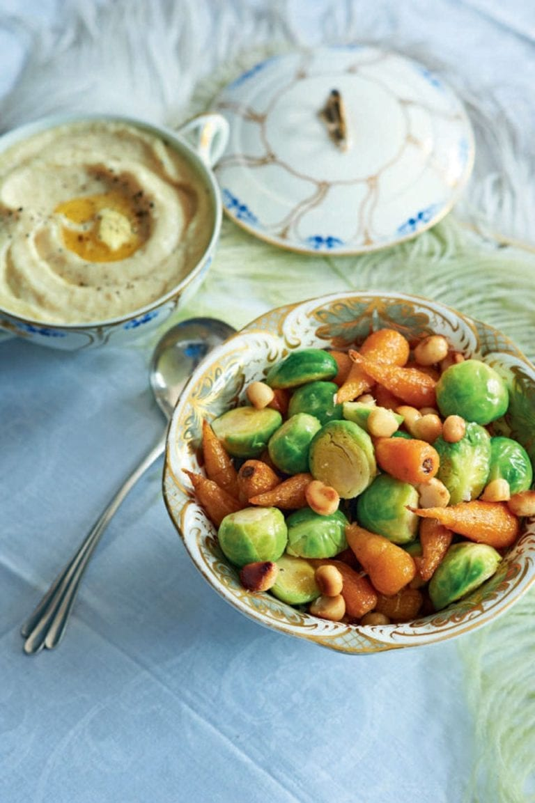 Sprouts and roasted carrots with butter and macadamia nuts