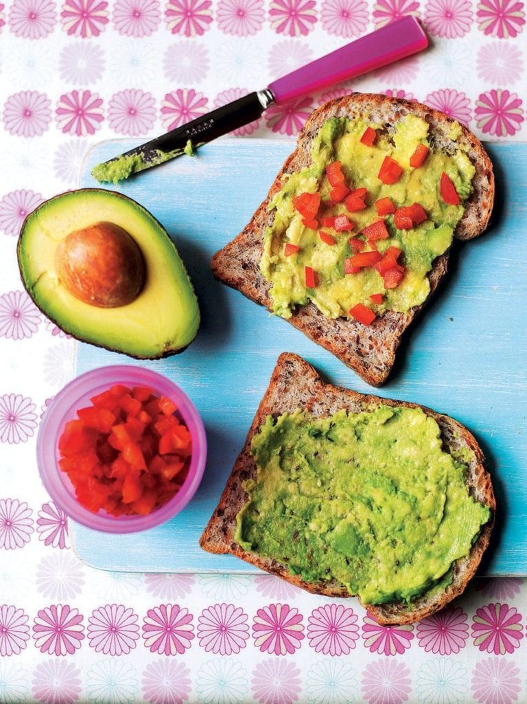 Avocado and red pepper sandwiches