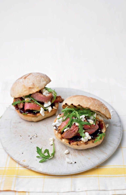 Steak sandwich with harissa, caramelised onions and feta