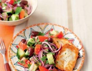 Greek salad with mint and fried halloumi