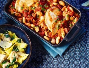 Chicken, butter bean and chorizo bake