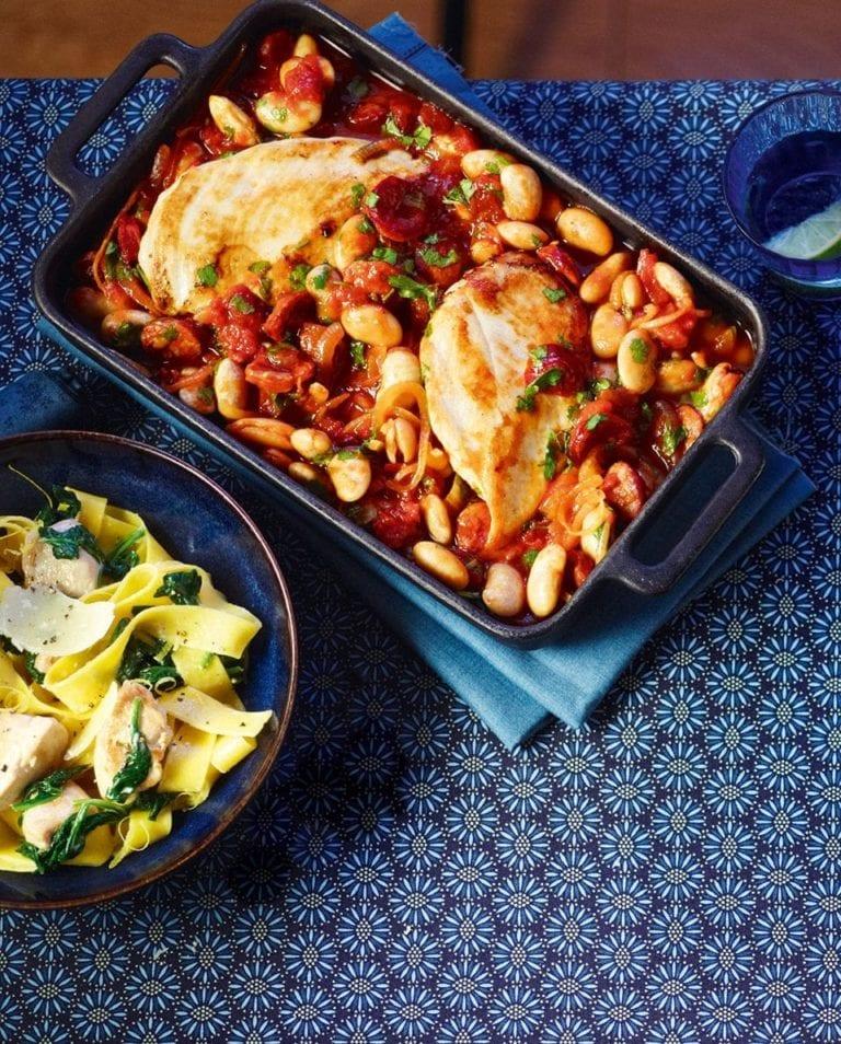Chicken, butter bean and chorizo bake