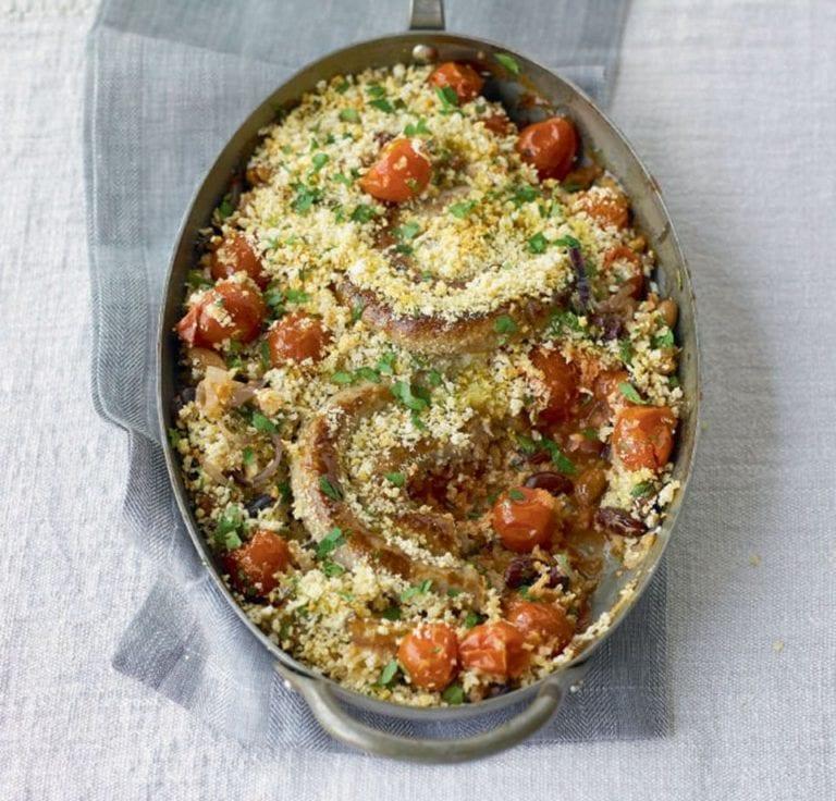 Crunchy cumberland sausage cassoulet with mixed beans