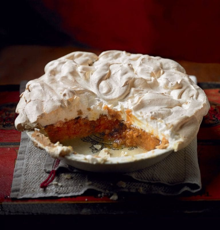 Chestnut and pumpkin pie with meringue