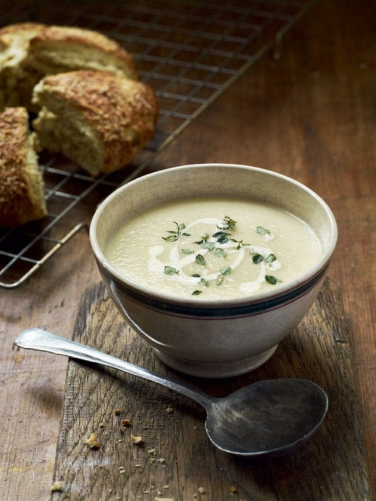 Roasted parsnip and parmesan soup with hot thyme scones