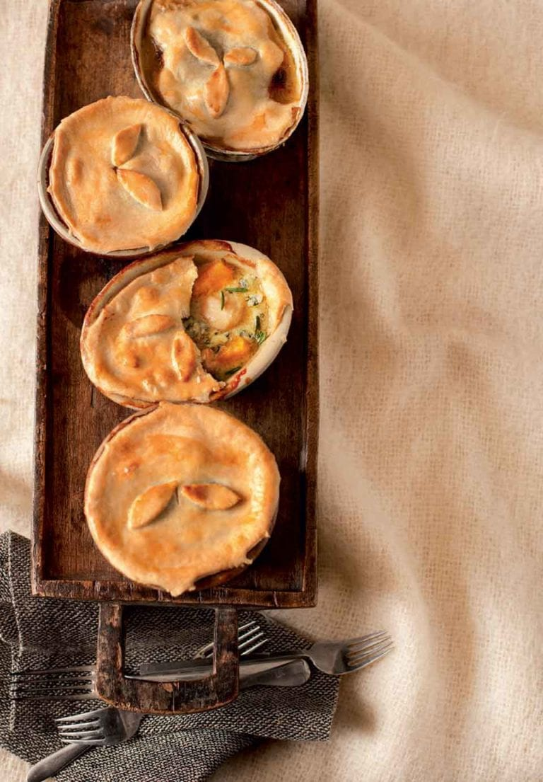 Chicken, sweet potato and blue cheese pot pies