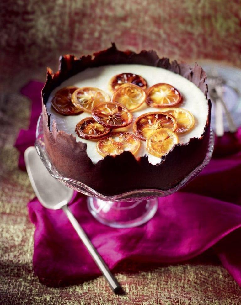 Frozen lemon soufflé in a chocolate shell