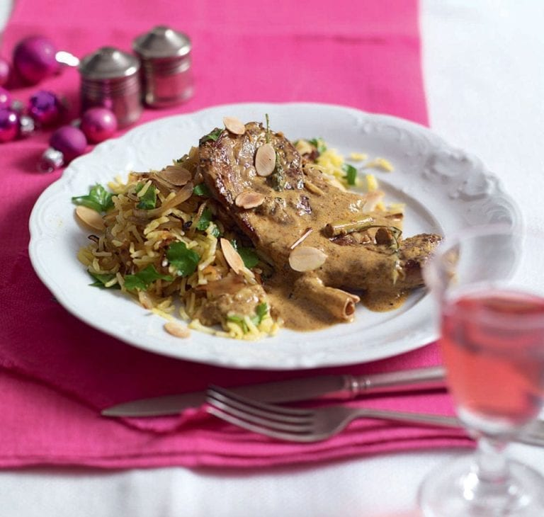 Lemongrass lamb curry with onion pilau rice